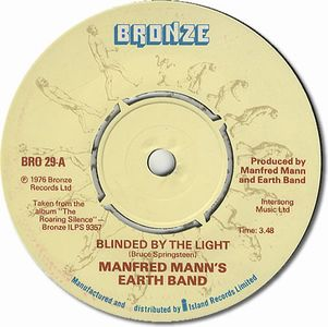 Manfred Mann's Earth Band - Blinded By The Light CD (album) cover