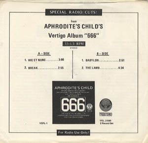Aphrodite's Child - Special Radio Cuts! CD (album) cover