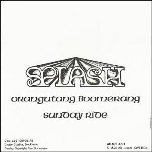 Splash - Orangutang Boomerang / Sunday Ride CD (album) cover